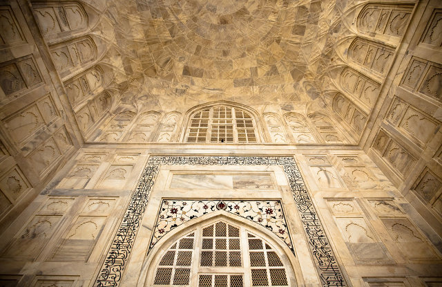 The intricate detailing of the marble that makes up the Taj Mahal